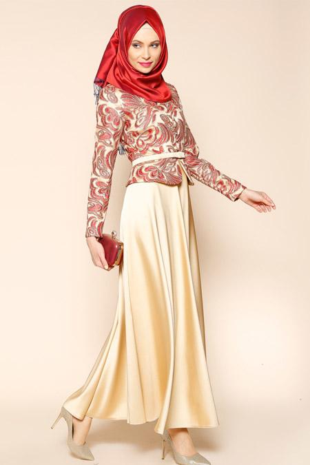 Puane Gold Kırmızı Payetli Abiye Elbise