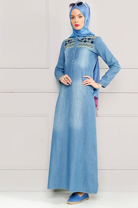 Refka Açık Mavi Pul İşlemeli Kot Elbise