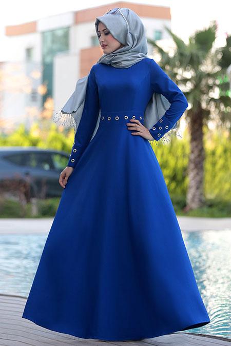 Selma Sarı Design Saks Kuş Gözlü Elbise