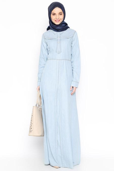 Sultan-ı Yegah Buz Mavi Düğme Süslü Elbise