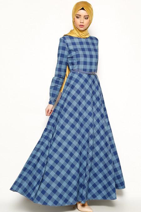 Zernişan Koyu Mavi Kemerli Elbise