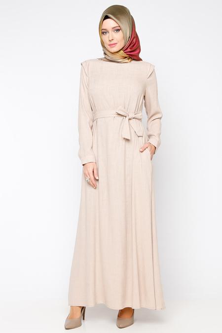 Allday Bej Kemerli Elbise