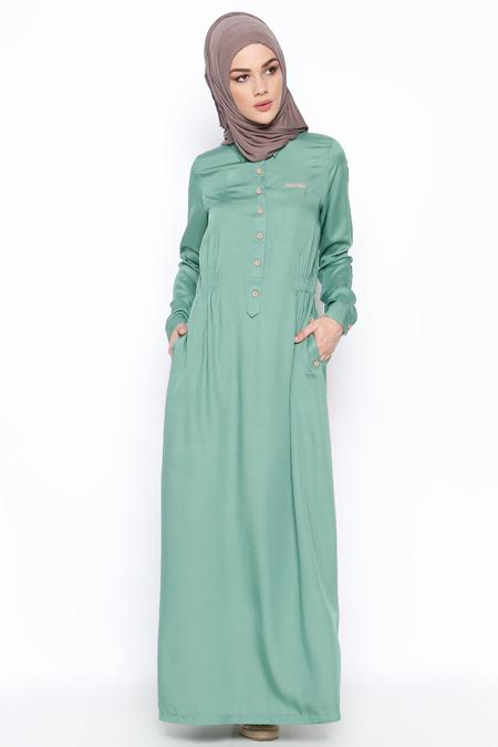 Allday Çağla Yeşili Düğme Detaylı Elbise