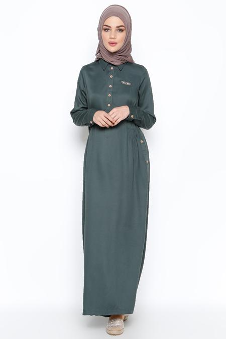 Allday Nefti Düğme Detaylı Elbise
