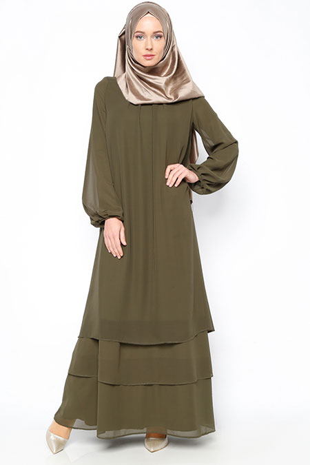 Belle Belemir Haki Şifon Elbise