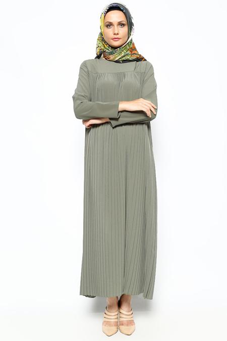 Belle Belemir Haki Pileli Elbise