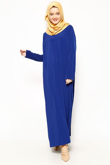 Belle Belemir Saks Pileli Elbise