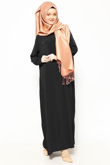 Belle Belemir Siyah Pileli Elbise