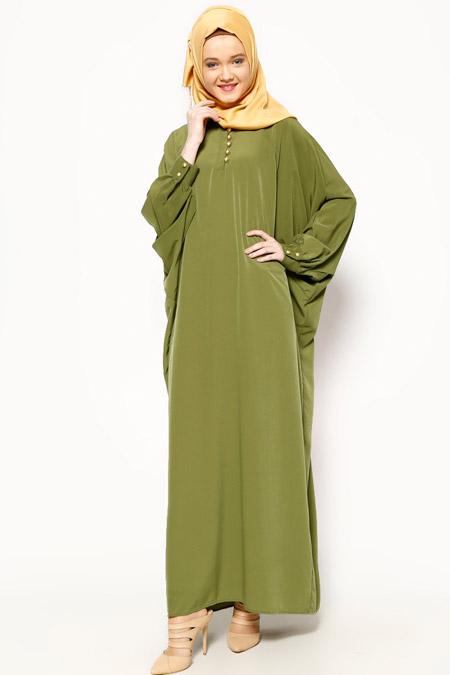 Belle Belemir Yeşil Yarasa Kollu Elbise