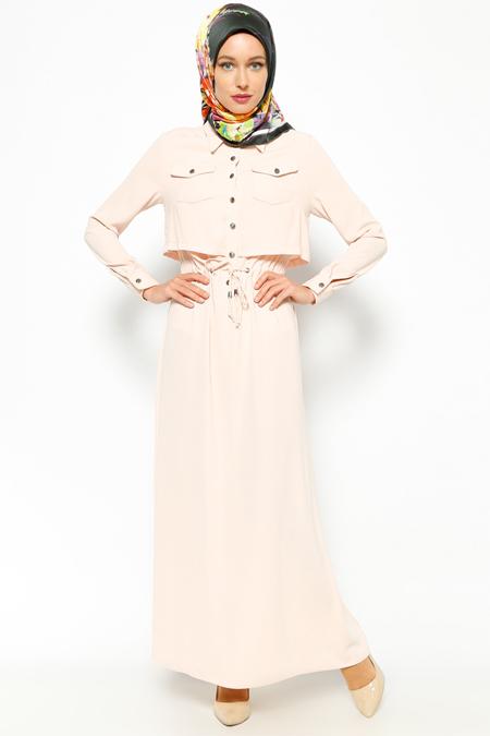 Burcum By B.C.C. Pembe Düğme Detaylı Elbise