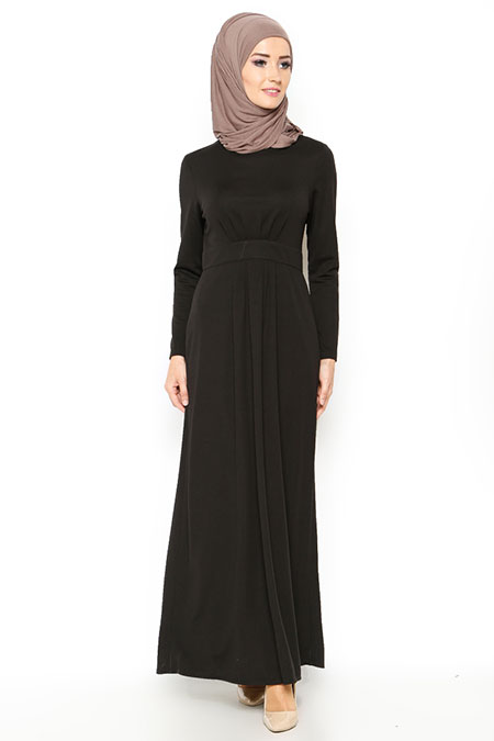Bwest Siyah Pileli Elbise