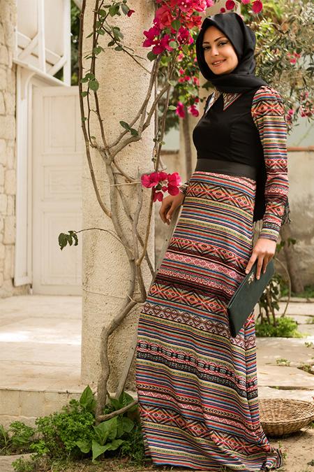 Dilek Etiz Siyah Etnik Desenli Elbise