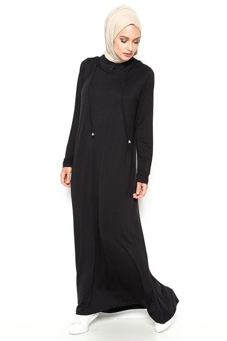 Eflatun Siyah Kapüşonlu Elbise