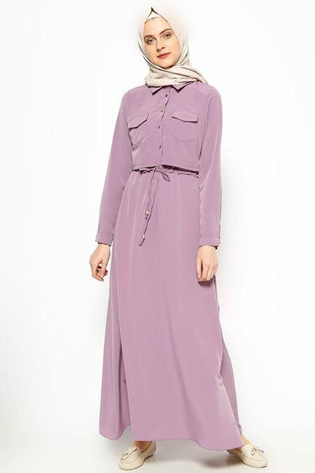 Elit Butik Lila Düğme Detaylı Elbise