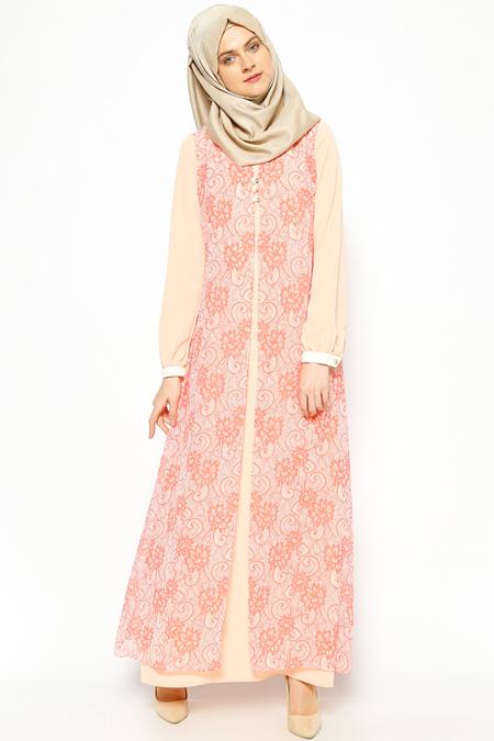Esswaap Nar Çiçeği Şifon Parçalı Elbise