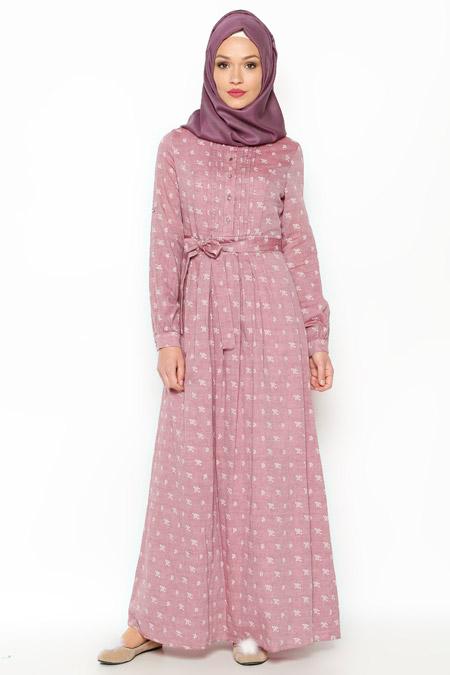 LOREEN Gül Kurusu Çiçekli Elbise