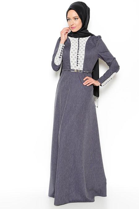 LOREEN Lacivert Dantel Detaylı Elbise