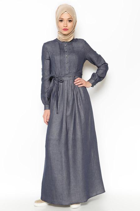 LOREEN Lacivert Drape Detaylı Elbise