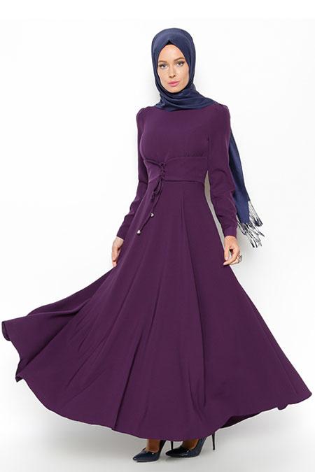 LOREEN Mor Düz Renk Elbise