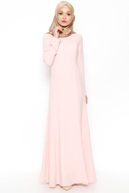 LOREEN Pudra Düz Renk Elbise