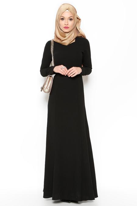 LOREEN Siyah Düz Renk Elbise