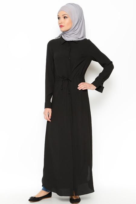 LOREEN Siyah Gizli Düğmeli Uzun Tunik