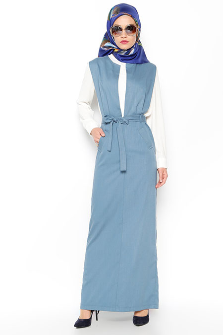 LOREEN Turkuaz Kolsuz Elbise