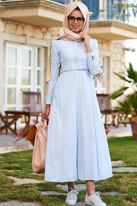 Mevra Mavi Sıla Cotton Elbise