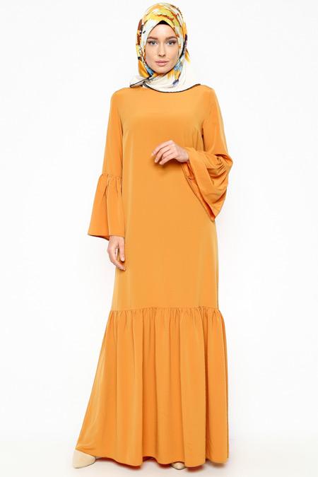 Missmira Hardal Fırfırlı Elbise