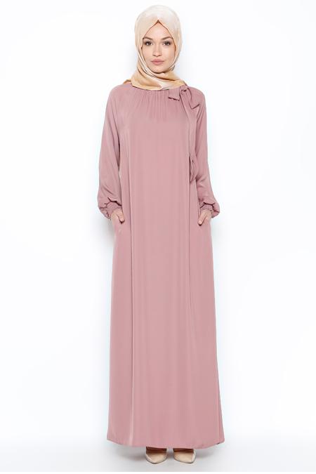 ModaNaz Pudra Büzgülü Elbise