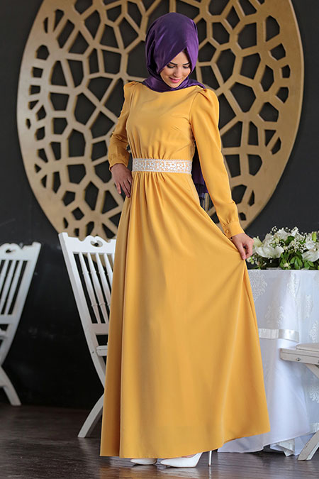 Nurkombin Hardal Arefe Dantelli Elbise