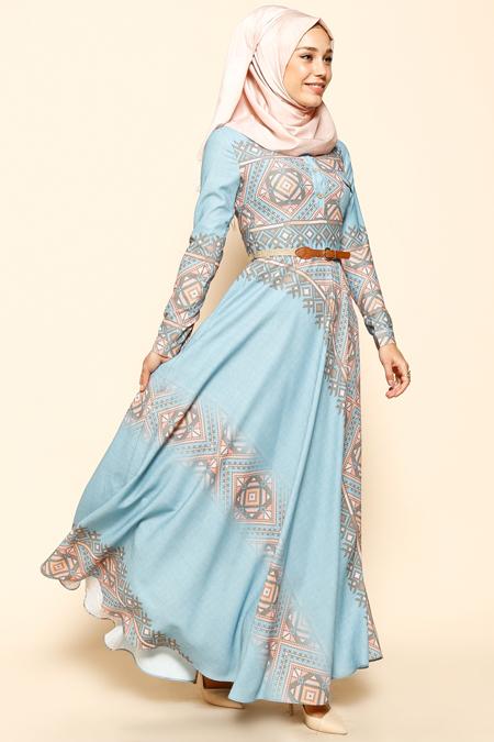 Puane Mavi Etnik Desenli Elbise