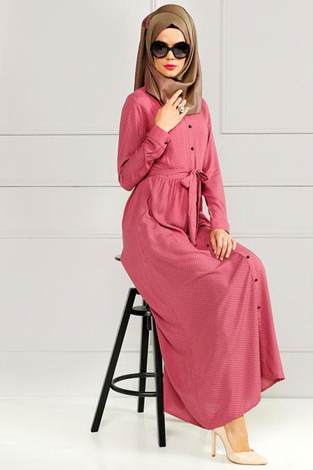 Refka Gül Kurusu Puantiyeli Elbise