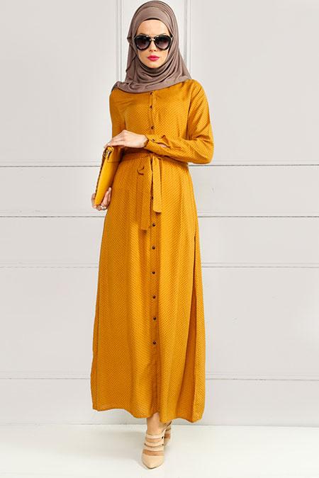 Refka Hardal Puantiyeli Elbise