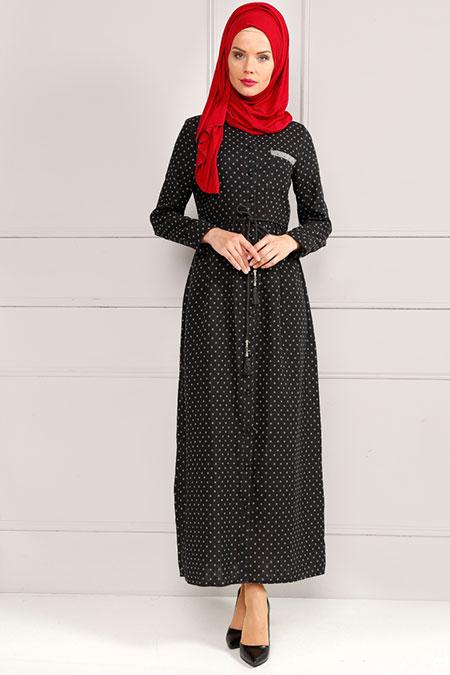 Refka Siyah Gri Düğme Detaylı Elbise