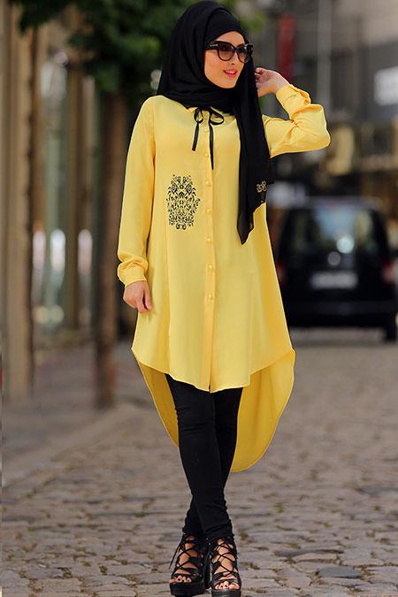 Selma Sarı Design Sarı Baskılı Çiçek Tunik