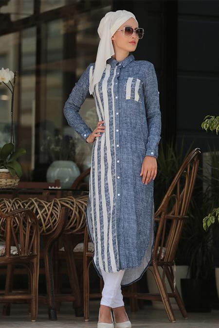 Selma Sarı Design Mavi Çizgili & Garnili Tunik