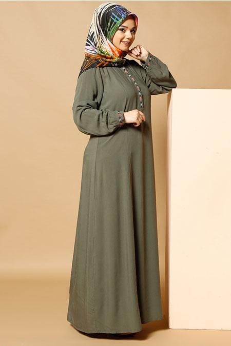 Alia Haki Çıtçıt Detaylı Elbise