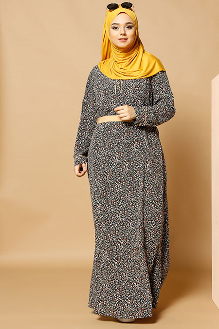 Alia Siyah Çiçekli Elbise