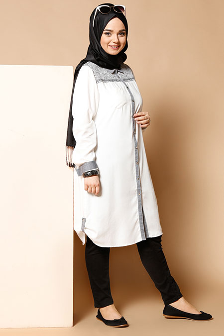 Alia Siyah Şal Desenli Tunik