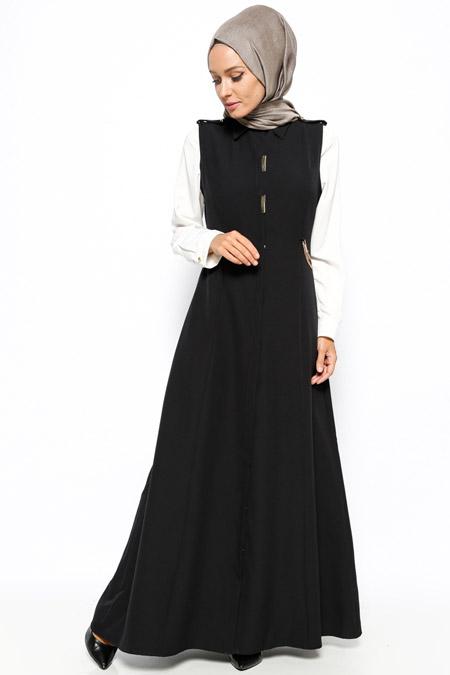 BÜRÜN Siyah Gizli Düğmeli Kolsuz Elbise