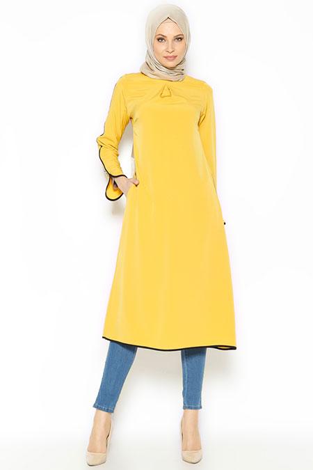Beha Tesettür Sarı Biye Detaylı Tunik