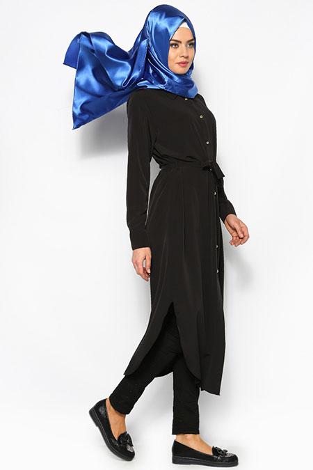 Beha Tesettür Siyah Cepli Uzun Tunik