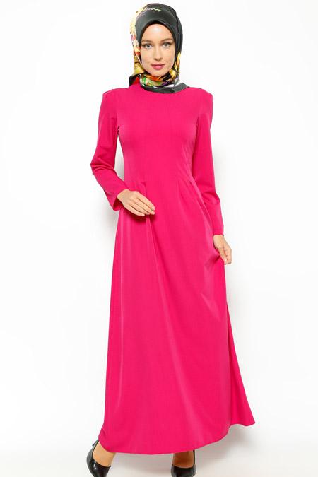 Beha Tesettür Fuşya Düz Renk Elbise