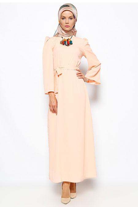 Dilek Etiz Somon Düz Renkli Elbise