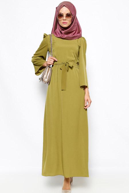 Dilek Etiz Yeşil Düz Renkli Elbise
