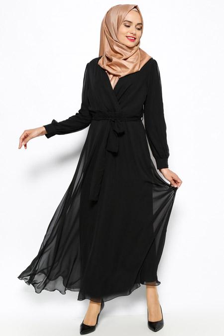 İroni Siyah Şifon Elbise