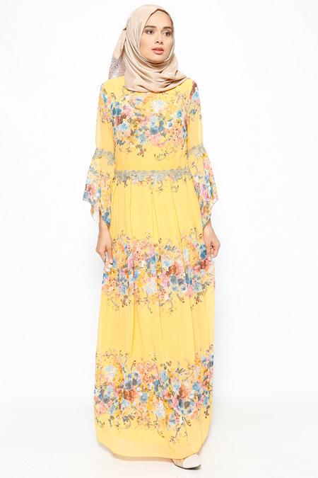 Jazzline Sarı Güpür Detaylı Elbise