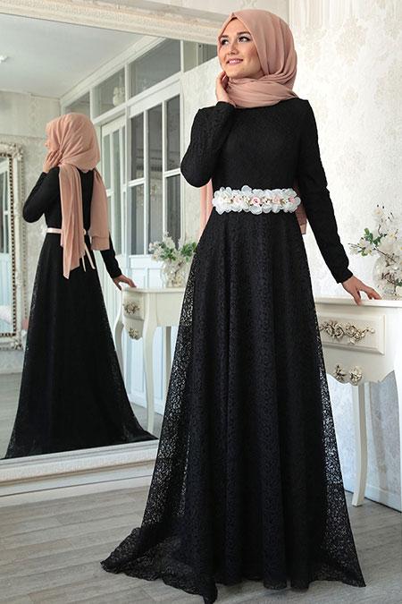 Lef ` Zen Siyah Nur Abiye Elbise