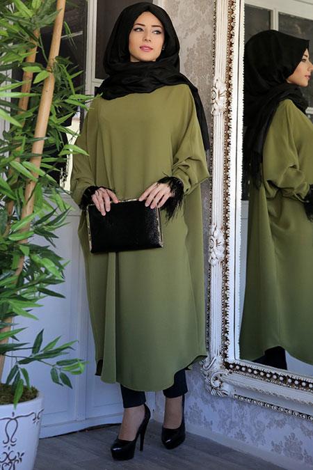 Lef ` Zen Yağ Yeşili Peyker Ferace Tunik